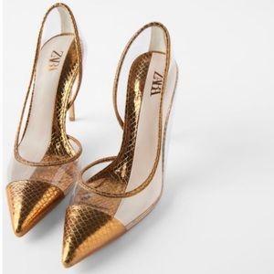 Zara Vinyl High Heels, Size EUR 39 USA 8